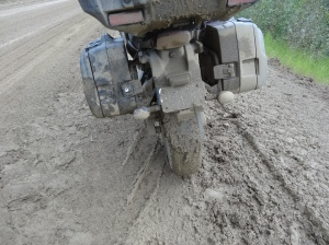 The mud & potholes on the Dalton Highway were not kind to our street bikes with street tires