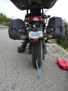 Punctured tire & broken tail light