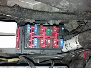 Melted green battery fuse